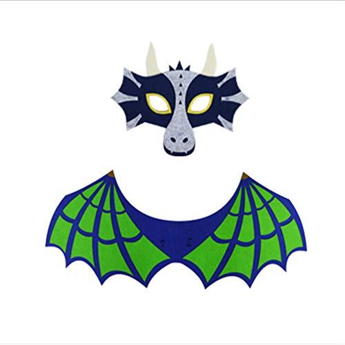 KYMLL Halloween Performance Requisiten Dinosaurier Drachenflügel Set Feuer Eisdrachen Maske Zeigen Requisiten für Kinder (Feuer Drachen Kostüm)