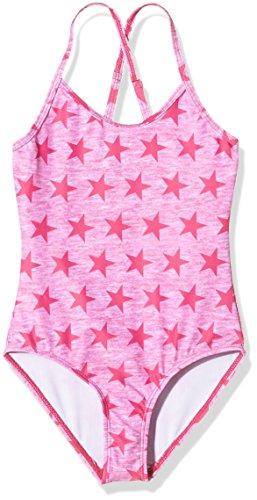 Miami Beach Swimwear Mädchen Badeanzug Stars, Rosa (Pink Glow 420), 116