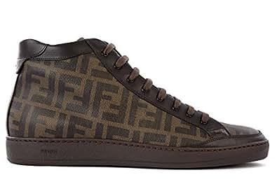 Immagine non disponibile. Immagine non disponibile per. Colore  Fendi  scarpe sneakers alte uomo in pelle nuove marrone cee1995b2a9