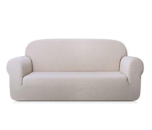 TOYABR 1-Stück universaler Sofabezug, Sofahusse in gestreiftem Leinenstoff, verfügbar in verschiedenen Größen und Farben (2-Sitzer, Beige)