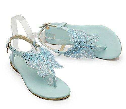 UH Sandales Femmes Bout Ouvert à Talons Plates Confortables de Boucles en Lanières en T avec Papillon Bleu