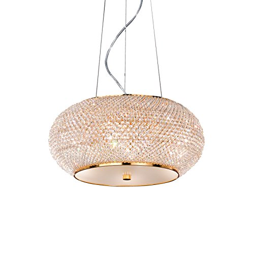 L'Aquila Design Arredamenti Ideal Lux Lampe à Suspension Pasha SP6 Couleur Or et Monture en métal