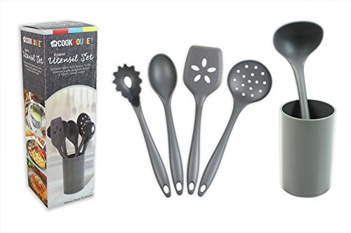 Kitchen Utensils Set Cooking Tools Gadgets 6 Piece including Holder Kitchen Accessories Spoon Ladle by Cookhouse