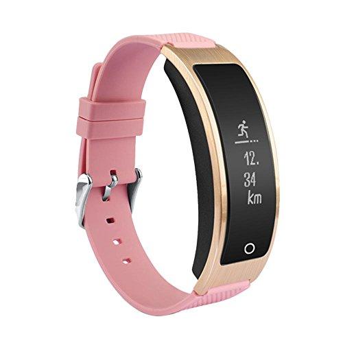 Kobwa Fitness Armband mit Pulsmesser,Fitness Tracker Wasserdicht Aktivitätstracker Schrittzähler Armband Pulsuhr mit Schlaftracker Kalorienzähler Herzfrequenz Vibrationsalarm Stoppuhr Anruf SMS Benachrichtigung für IPhone IOS Android