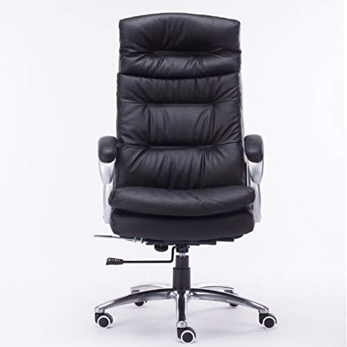 Leder-Heimcomputerstuhl Büro-Chef Lederstuhl Arbeitszimmer Massagestuhl Wohnzimmer Lift Sessel Schwarz Computerstuhl Boss Stuhl (100{eabcd52a0d76f9bb846584e3cbac335f0292c9e4dead571cf009d14b2ed4a271} Reiner Rindsstuhl) (Color : Black, Size : 72CM*72CM*72CM)