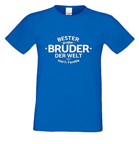 bequemes T-Shirt Herren Männer Motiv Bester großer Bruder der Welt Geschenk-Idee, Vatertag, Weihnachten kurzarm Outfit, Kostüm Farbe: royal-blau Royal-Blau