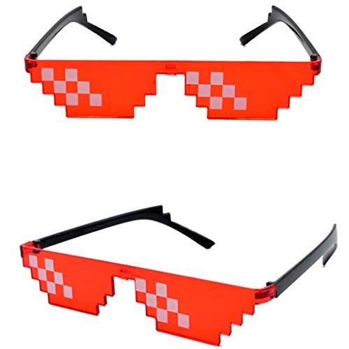 ECMQS Bunte Mosaik-Sonnenbrille Spielzeug, Thug Life Glasses Deal mit es Pixel für Frauen Männer Kinder (Rot)