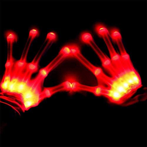 Für Konzerte Kostüm - LED Flashing Skeleton Handschuhe, Farbwechsel Neuheit Halloween Kostüm Party Konzert Prop Rotes Licht