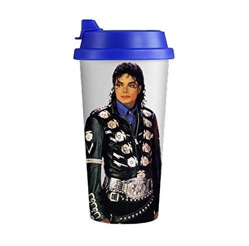 Famous Pop Singer Michael Jackson Image White Double Wall Travel Coffee Milk Mug Cup 500ML