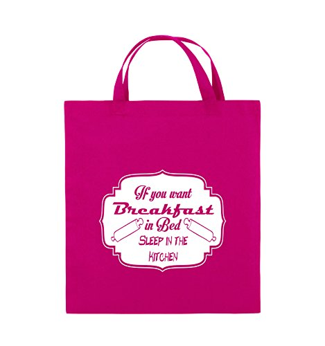 Comedy Bags - If you want Breakfast in Bed - KITCHEN - Jutebeutel - kurze Henkel - 38x42cm - Farbe: Schwarz / Pink Pink / Weiss