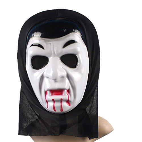 HiMqhy Halloween Totenkopf Geister Kleid + Maske + Handschuhe Männlichen & weiblichen Bar Nachtclub Make-up Kugel Kleidung Party T-Shirt Horror Skelett Kleidung, Vampir Maske