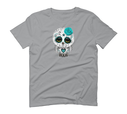 Cute Blue Day of the Dead Sugar Skull Owl Men's Graphic T-Shirt - Design By Humans Opal
