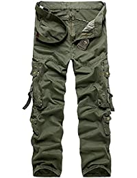 Tangda Herren Hosen Gerade Cargo Hose Männer Lange Cargohose Feldhose Baumwolle Winter Arbeitshose Größe XS S M L XL - Armee Grün