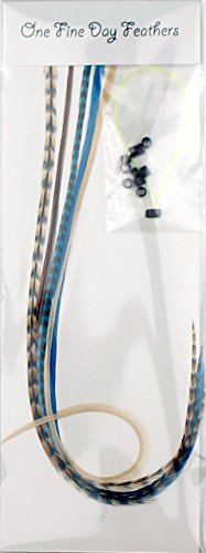 Extensions de cheveux avec plumes + Lot de 5 anneaux/Boucle