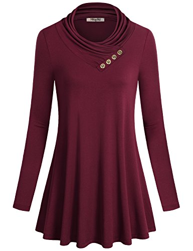 Tunika Sweatshirts, Hibelle Frauen Niedlich Outfit Cowl Neck Solid Farbe Swing Drapierte Rüschen A-Line Ruche Smocking Yoga Breathable Shift Langarm Bluse Tops Wein Rot M (Swing-shirt A-line)