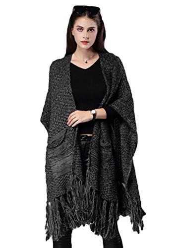 NiSeng Femme Longue Cardigan en Maille Poncho avec Houppe Decoration pour Hiver Cardigan Chaud Noir