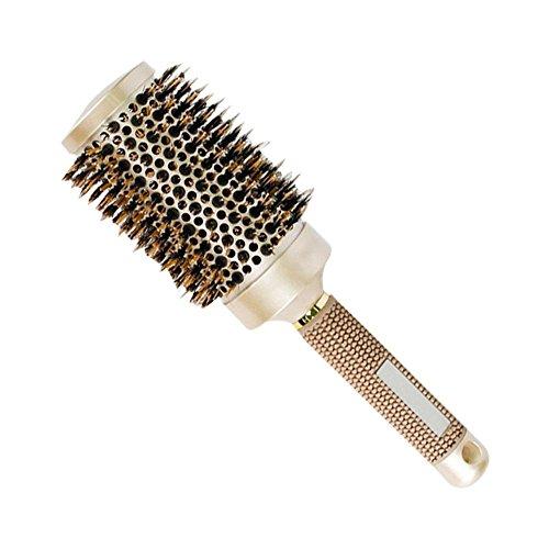 AOLVO Wildschweine eingezogen Bürste, professionelle Salon Styling Bürste, thermische Keramik und Ionic runden Schaft Haar Bursh für Föhnen, Locken und Glätten, gold, 53#:25.7*5.6cm (Thermische Bürste)