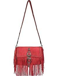 styleBREAKER bolso de bandolera con flecos y remaches, hebilla decorativa con motivo ornamental de flores y hojas, bolso de hombro,…