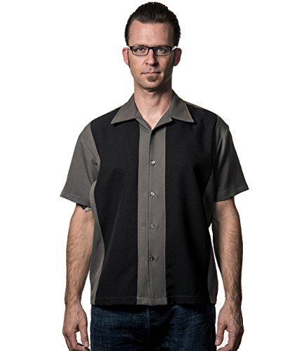 en Vintage Bowling Hemd - Poplin Panel Retro Bowling Shirt Grau/Schwarz S ()