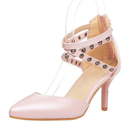 Damen Spitze Zehen Sandalen Kitten-Heel mit Nieten Knöchelriemchen Pink