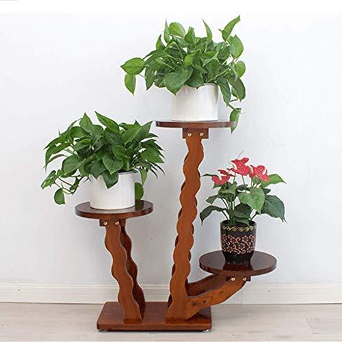 LIN HE SHOP Dekorative hohe Holz Pflanze Stand Tisch Zimmerpflanze Hocker Home Decor Sockel Stand, einzigartige wellenförmige Blume Rack Pflanzgefäß Regale, Pflanze Tray (Size : 3 Trays) -