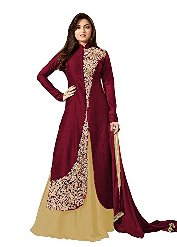 Crazy Women's Banglori Silk and Georgette Embroidered Semi-stitched Salwar Suit RANI-CREAM_Free Size