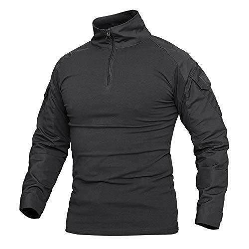 Menargo Combat Shirt Herren Slim Fit Outdoor Militär Shirt Tactical Hemd Sports Mit 1/4 Reißverschluss umfassen Langarm und Kurzarm(Schwarz XL) -