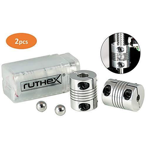 ruthex 3D Drucker Kupplung 5x8mm [2 Stück] mit 2 Ausrichtkugeln | flexible NEMA Wellenkupplung | rutschfeste Klemmverschraubung |für 3D-Drucker z. B. Anycubic i3 Mega | Creality Ender 3 | CR-10