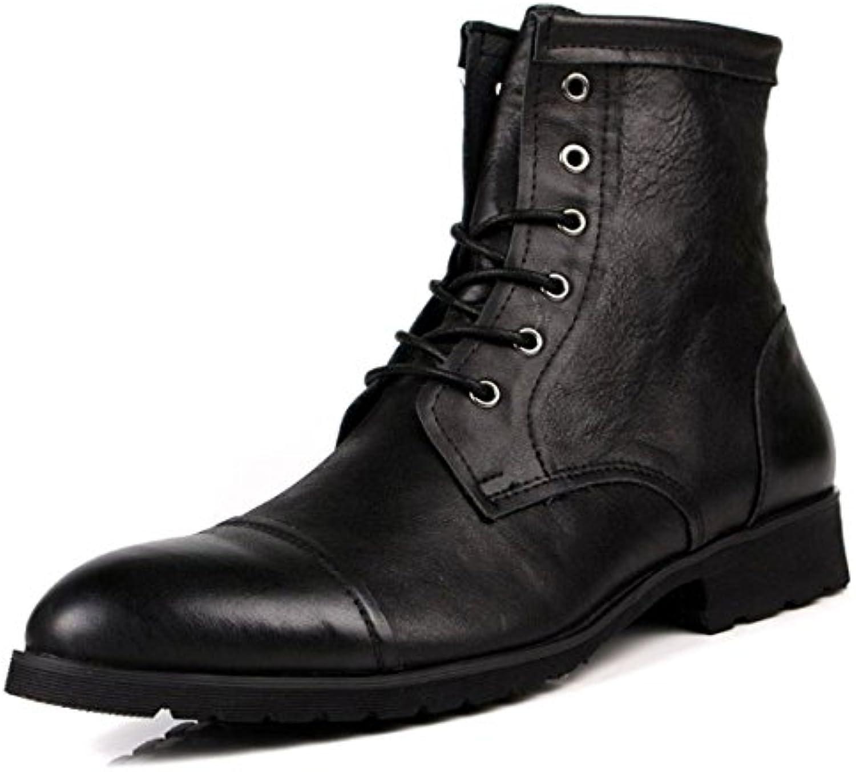 NIUMJ Heißer Verkauf Einfache Lederstiefel Einfarbige Lederschuhe Hohe Hilfe Komfort Persönlichkeit Einzelne Schuhe