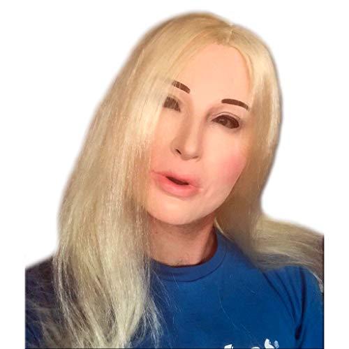 Latex Fetisch Damen Gesichtsmasken - Schwarz - Blonde Puppe
