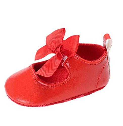 Auxma Zapatos Para Bebé Zapatos de Cuero de La PU del Bowknot de La Niña Zapatos Antideslizantes Para Niños Pequeños Zapatilla Para 3-6 6-12 12-18 Mes (12cm/6-12 M, Rojo)
