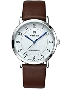CIVO Mens Watches Brown Genuine leather Band Waterproof ...