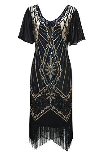 Metme Frauen V-Ausschnitt Kleid der 1920er Jahre Vintage Art-Deco-Cocktail Pailletten Ärmel Quasten Kleider für besondere Anlässe