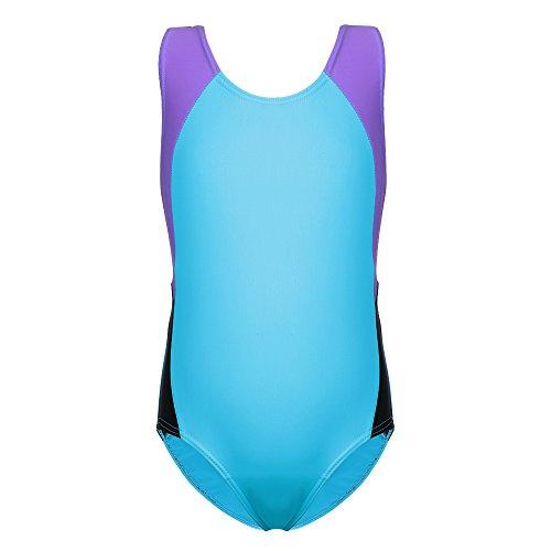 Badeanzüge für Mädchen - Kidsparparadisy Kinder sportlich Badeanzug One Piece Training Bademode 3-10 Jahre (128/134(5-6 Jahre), Blue) - Mädchen One Piece Bademode
