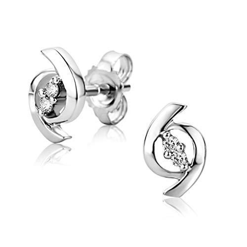 Orovi Damen Ohrstecker Ohrringe Set,Weißgold Ohrstecker 9Karat (375) mit Diamant
