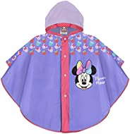 PERLETTI Poncho Impermeable Niña Disney Minnie Mouse - Chubasquero de Lluvia Rosa/Morado con Capucha y Botones