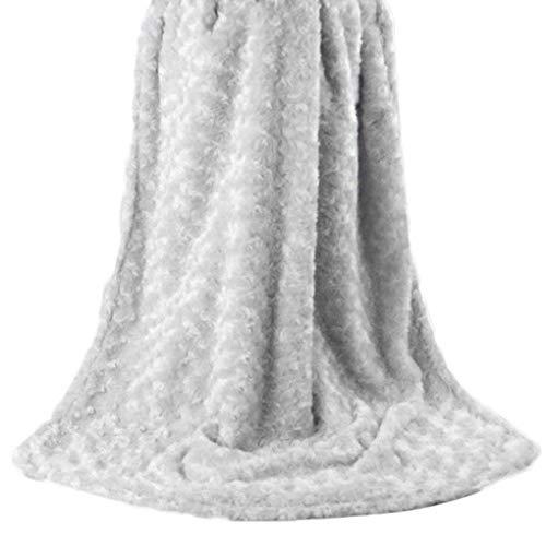 Rüschen Rosette (Floridivy Baby-warme weiche Berühren 2-Schicht Plüsch-Strudel gemasert Velour Design-Rosetten Rüschen Decke)