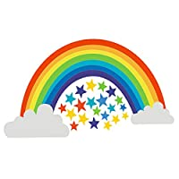 KISEER Rainbow Wall Decal White Clouds Colorful Stars Wall Stickers for Baby Nursery Kids Bedroom or Living Room