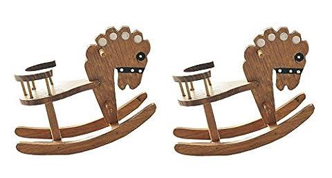 Set of 2 Vintage Wooden Horse Figurines, Desk Decor