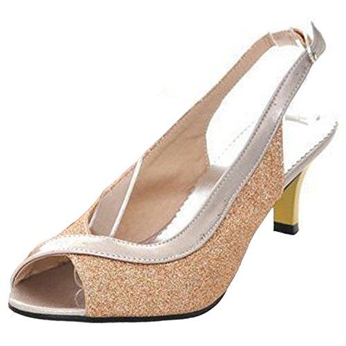 COOLCEPT Damen Mode-Event Slip On Schuhe mit Absatz Slingback Pumps Peep Toe Schuhe Gold