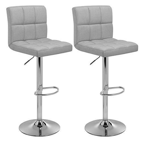 SONGMICS Barhocker 2er Set, höhenverstellbare Barstühle, Barstuhl mit Leinen-Bezug, 360° Drehstuhl, Küchenstühle mit Rückenlehne und Fußstütze, Lobby, Tresen, verchromter Stahl, grau LJB14GYX