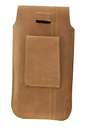 ORLINE Holster Custodia Verticale per cellulari Apple iPhone SE tasche e passante per cintura Slim Design Case Custodia in vera pelle Custodia von ORLINE in nubuck marrone con chiusura m