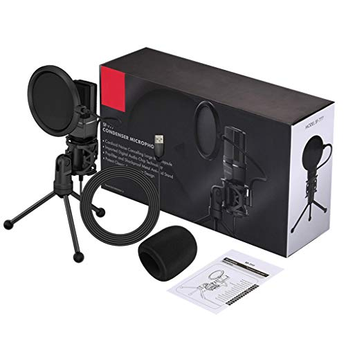 Hanxin Computer verdrahtete Mikrofon USB Kondensator Tonaufnahme Mic Ständer Chatten Gaming Laptop Mic Singen