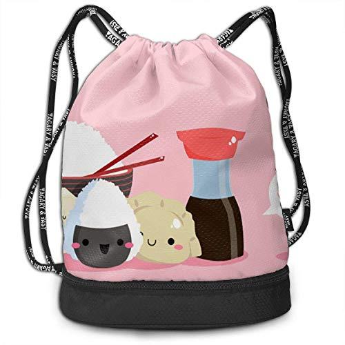(Bgejkos Unisex Kawaii Onigiri Sushi Drawstring Shoulder Backpack Travel Daypack Gym Bag Waterproof)