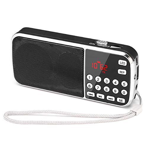 PRUNUS Mini Portable FM USB TF HiFi MP3 Rechargeables Radio, pour Un Temps de Lecture Longue Durée (Plus de 10 Heures). Mémorise Automatiquement Les Stations. (Pas de Fonction de Mémoire Manuelle).