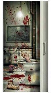Wandfolie Schlachtnacht im Badezimmer für Türen Wände Fenster Splatter Schocker Horror Party Kracher USA Season Hit (Mumie Halloween-tür)