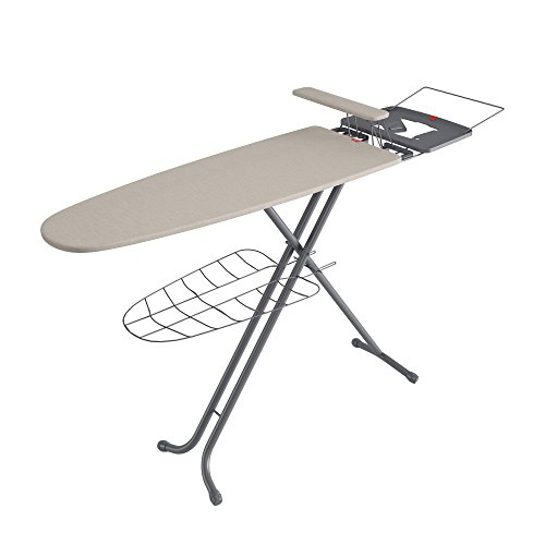 Rayen 6138.01 Tabla para Centro de Planchado con Plancha-Mangas, Metal, Gris y Beige, 41x1x120.5 cm
