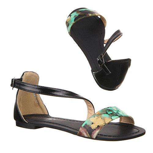 Damen Schuhe, 99542, SANDALEN Grün