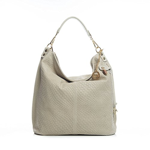 71ff9124b33 Mia Tomazzi - Leather Handbag - CREAM (49) - Made in Italy - 42x17x38