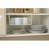 Metlex 3119, White Under Shelf Table Storage Basket Rack Kitchen Wire Mesh Cabinet Organiser